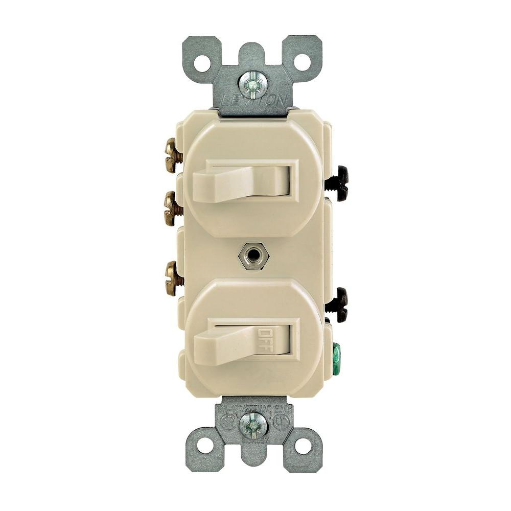 hight resolution of leviton 15 amp 3 way double toggle switch ivory