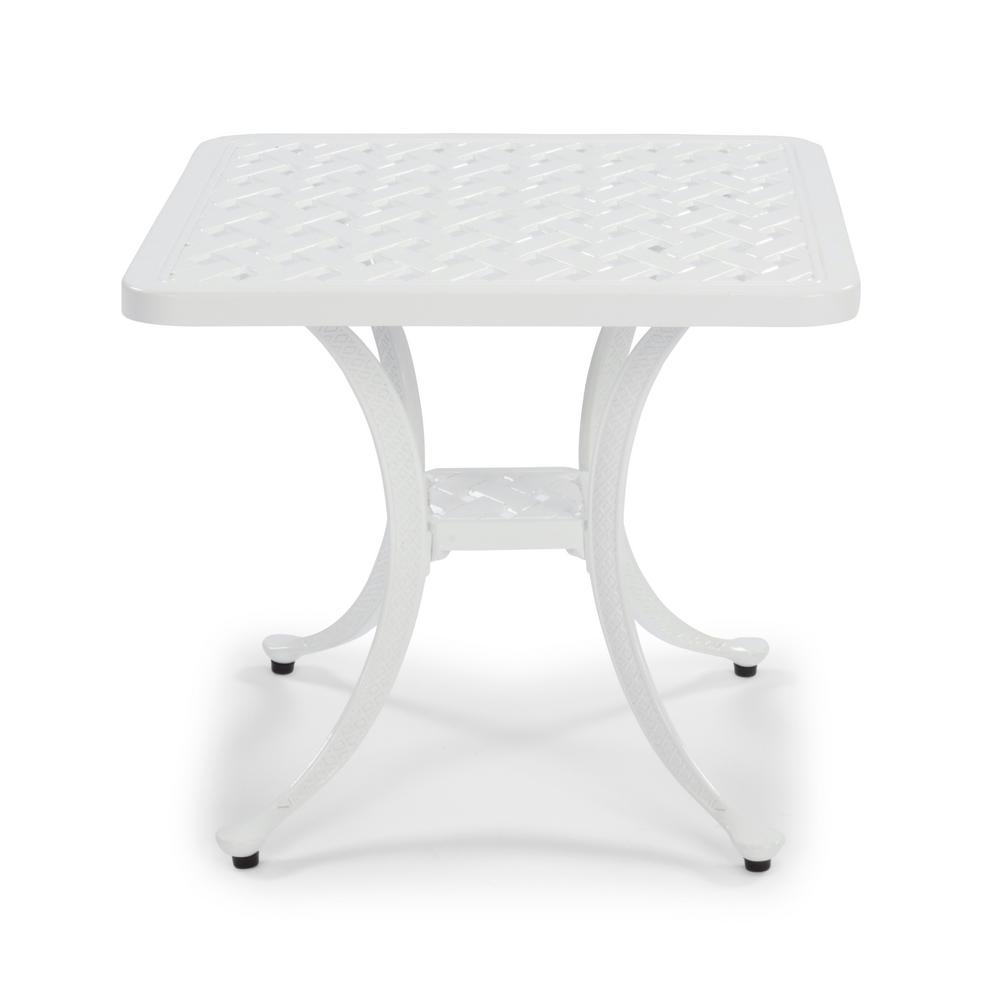 homestyles la jolla cast white square aluminum outdoor accent table 5550 201 the home depot