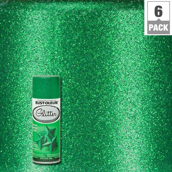 Rust-oleum Specialty 10.25 Oz. Kelly Green Glitter Spray Paint 6-pack -277781 - Home Depot