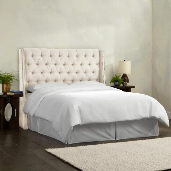 Tufted Wingback Nail Button Headboard