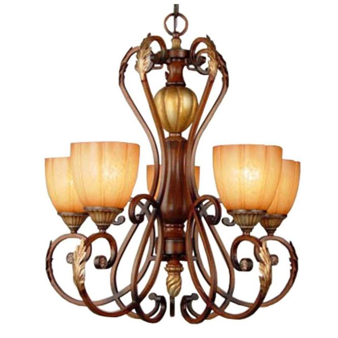 Hampton Bay Cau Deville 5 Light Walnut Chandelier With Champagne Glass Shades 17022 The Home Depot