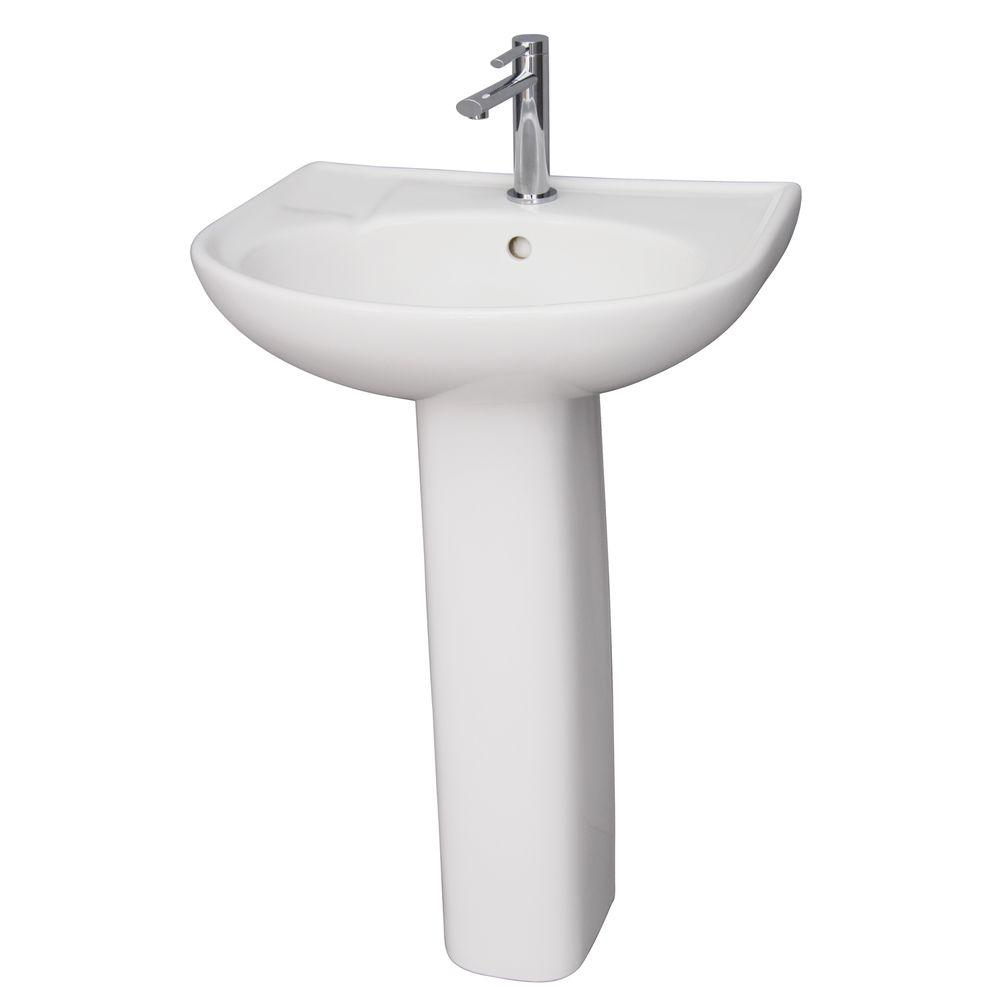Barclay Products Cynthia 520 Pedestal Combo Bathroom Sink in White3161WH  The Home Depot