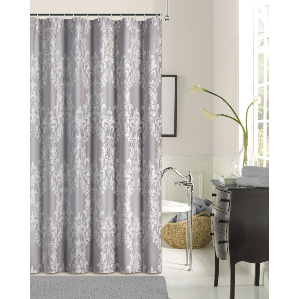 Floral Damask 72 in Silver Cotton Blend Shower CurtainFLDSCSI  The Home Depot