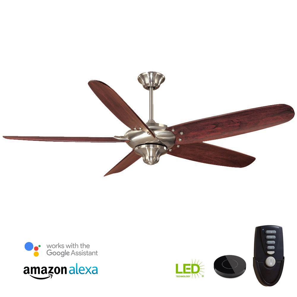 medium resolution of indoor brushed nickel ceiling fan works with google