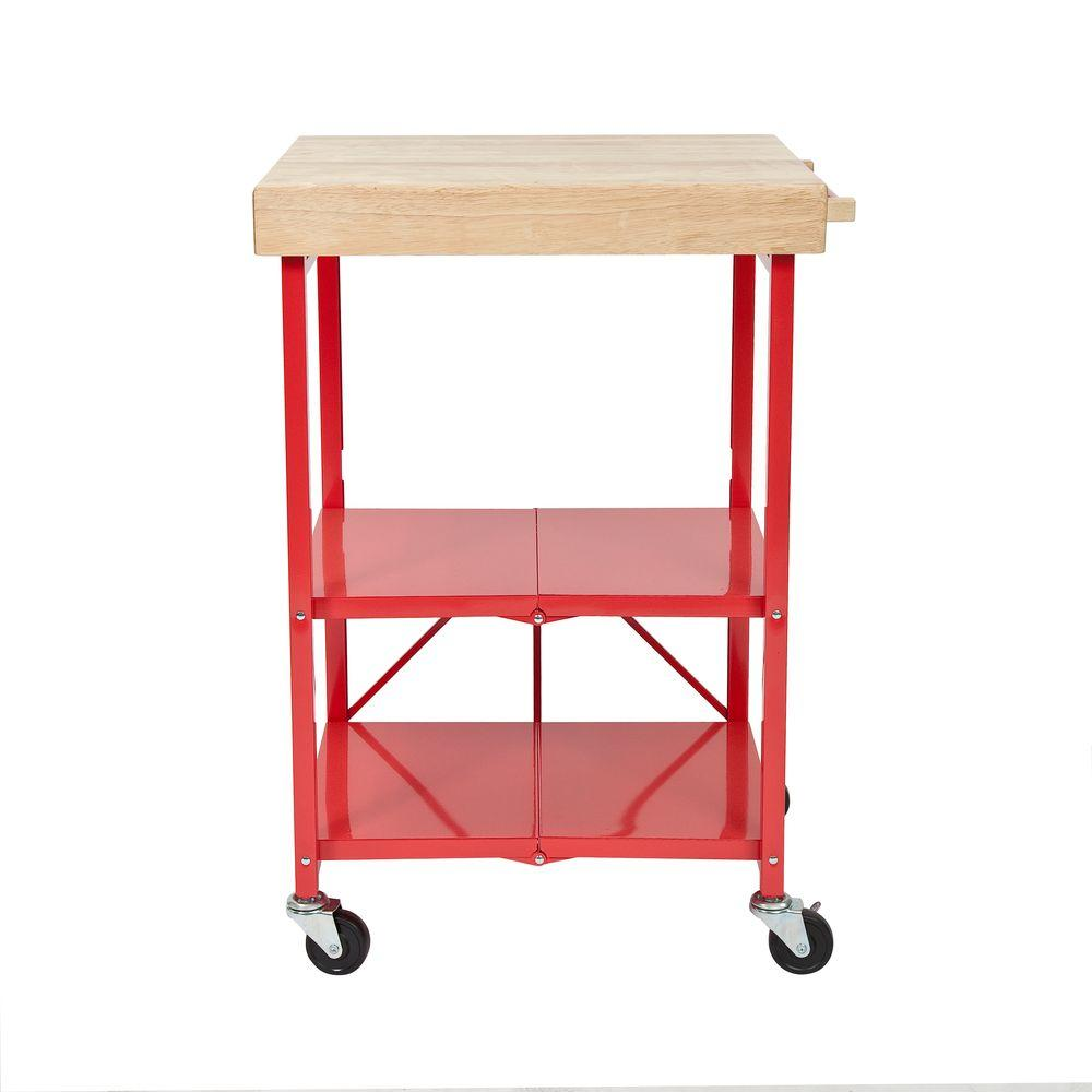 Origami 26 In W Rubber Wood Folding Kitchen Island Cart RBT 06