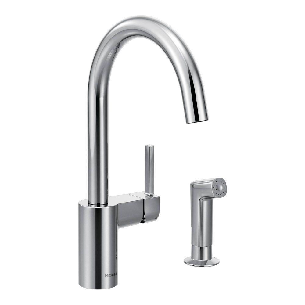 chrome kitchen faucet replacement moen align single handle standard with side sprayer in