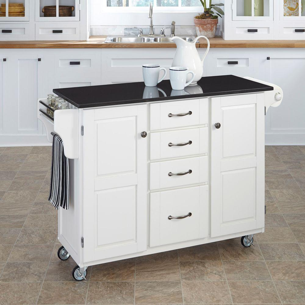 Home Styles Create A Cart White Kitchen Cart With Black Granite Top