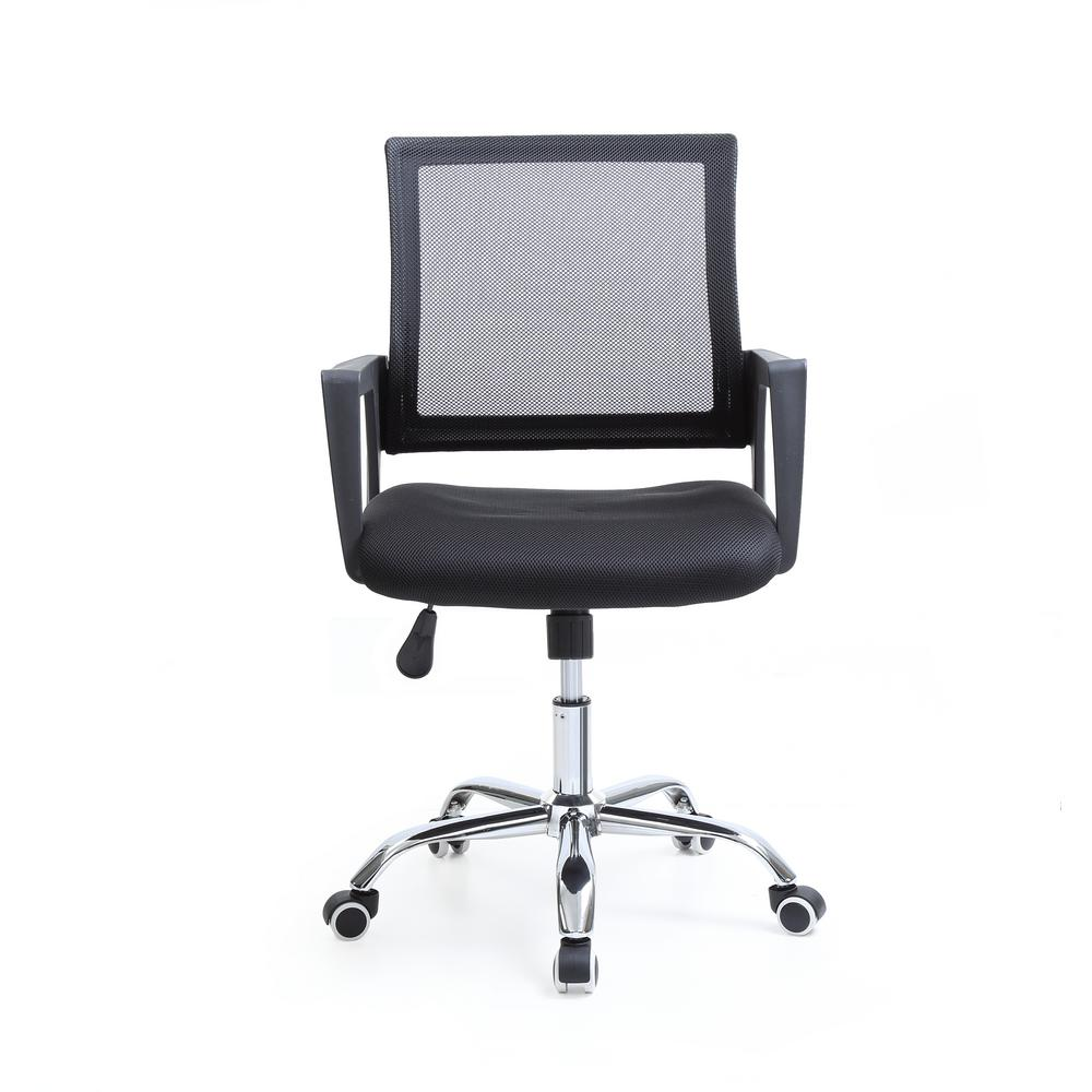 adjustable height chairs rocking chair with cradle hodedah black mesh mid back swiveling office chrome