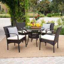 Noble House Charles Multi-brown 5-piece Wicker Outdoor