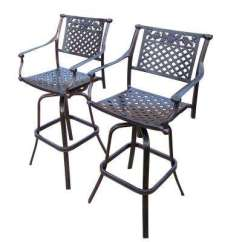 Outdoor Bar Chairs Antique Chair Cushions Waterproof Stools Furniture The Home Depot Rose Swivel Aluminum Stool 2 Pack