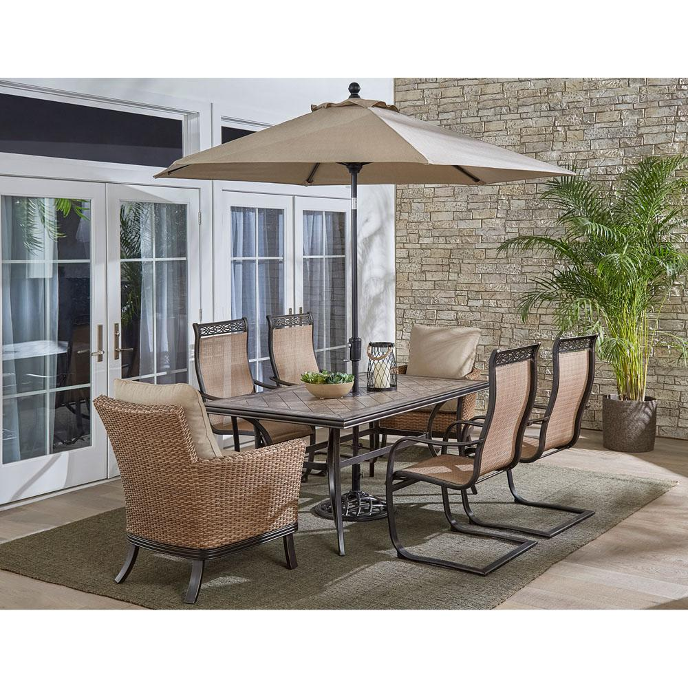 Heavy Duty Dining Room Chairs Hanover Monaco 7 Piece Aluminum Outdoor Dining Set With Tan Cushions 6 Chairs Tile Table Umbrella