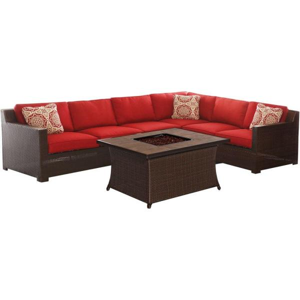 Hanover Metropolitan 6-piece -weather Wicker Patio Fire Pit Seating Set With Autumn Berry
