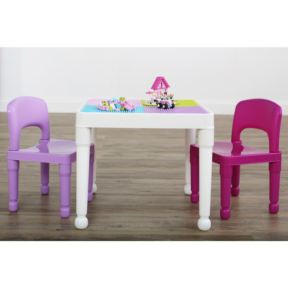pink kids chair wwe tables ladders and chairs toys tot tutors playtime 3 piece white purple 2 in 1 plastic lego compatible activity table set