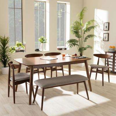 kitchen dining set islands with wheels room sets furniture the home depot flora 6 piece gray fabric and medium brown wood