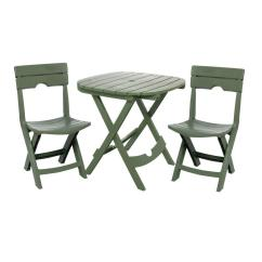 Outdoor Bistro Table And Chairs Set Wheelchair Glee Adams Manufacturing Quik Fold Sage 3 Piece Resin Plastic Cafe