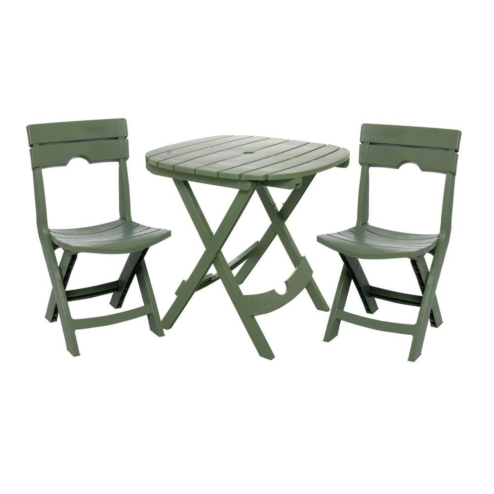 Metal Bistro Table And Chairs Adams Manufacturing Quik Fold Sage 3 Piece Resin Plastic Outdoor Bistro Cafe Set