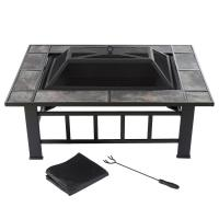 Pure Garden 37 in. Steel Rectangular Tile Fire Pit with ...