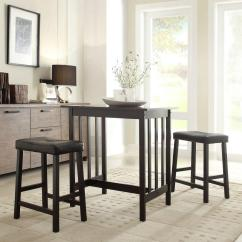 Pub Table And Chairs 3 Piece Set 2 High Backed Chair Cushions Hubbard Lane Black Bar 405310bk Mtl The Home Depot