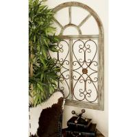 29 in. x 46 in. Rustic Brown Wood and Metal Arched Window ...