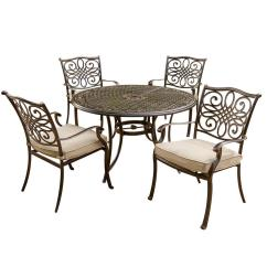 Set Of 4 Dining Chairs Chair Casters For Carpet Hanover Traditions 5 Piece Patio Outdoor With Cast Aluminum