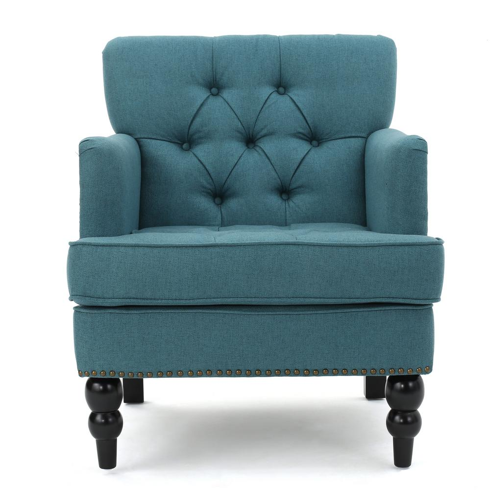 Noble House Malone Tufted Dark Teal Fabric Club Chair with