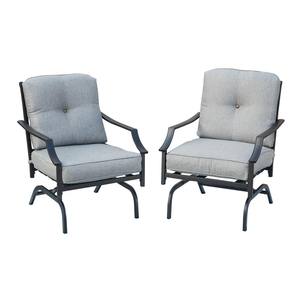Outdoor Rocking Chair Set Patio Festival Metal Outdoor Rocking Chair With Gray Cushions 2 Pack