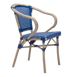 zuo paris metal outdoor patio dining chair in navy blue and white pack of 2 [ 1000 x 1000 Pixel ]