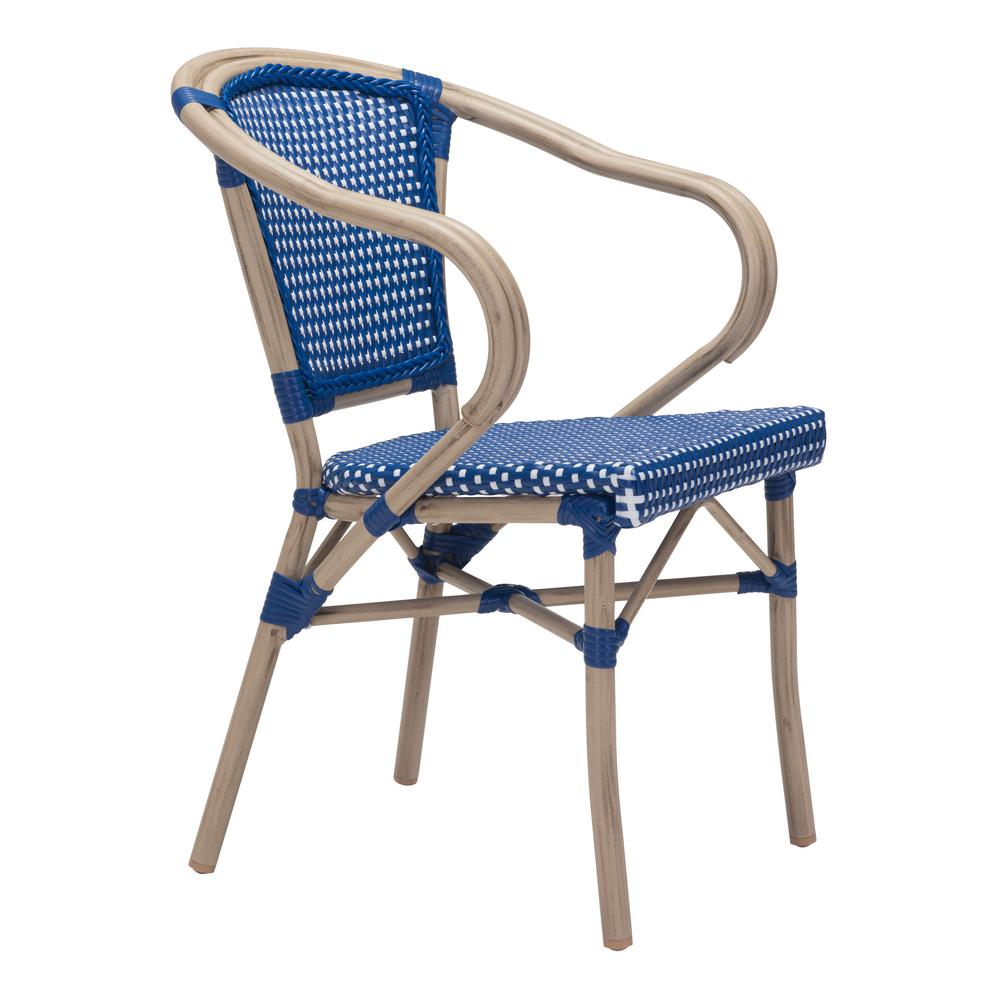 medium resolution of zuo paris metal outdoor patio dining chair in navy blue and white pack of 2