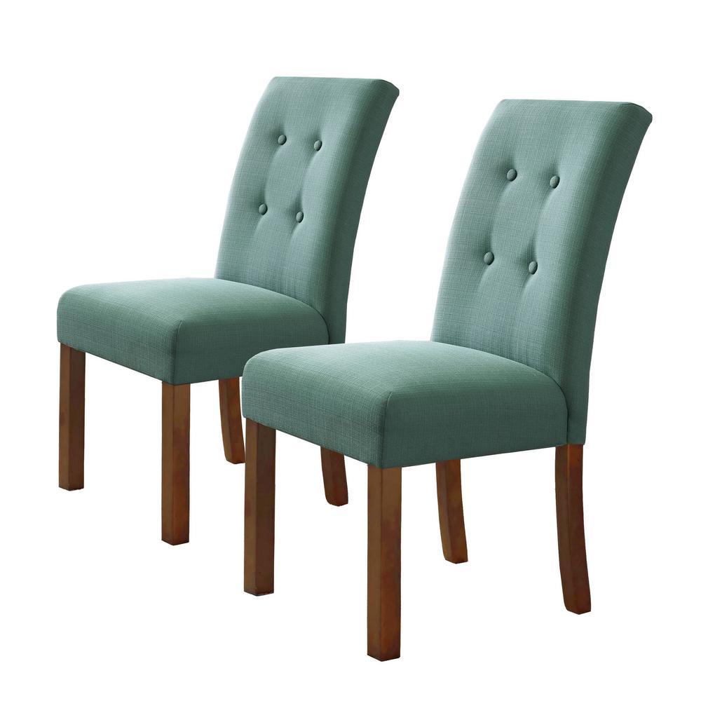 Homepop 4Button Teal Tufted Aqua Textured Parson Chairs