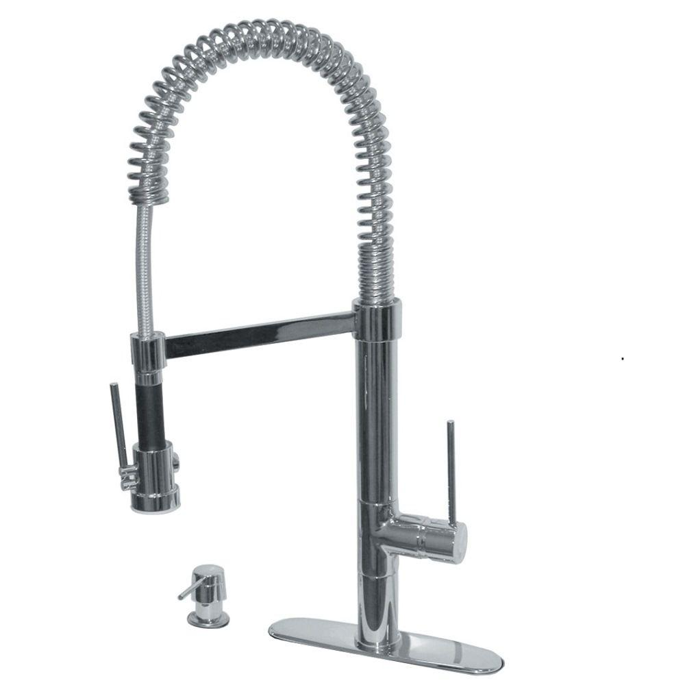 commercial kitchen faucet what to clean grease off cabinets pegasus marilyn single handle pull down with soap dispenser in brushed