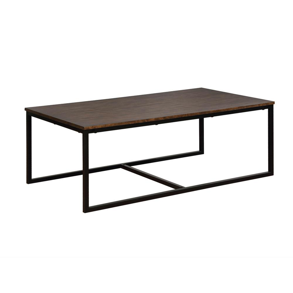 square wood coffee table with metal legs