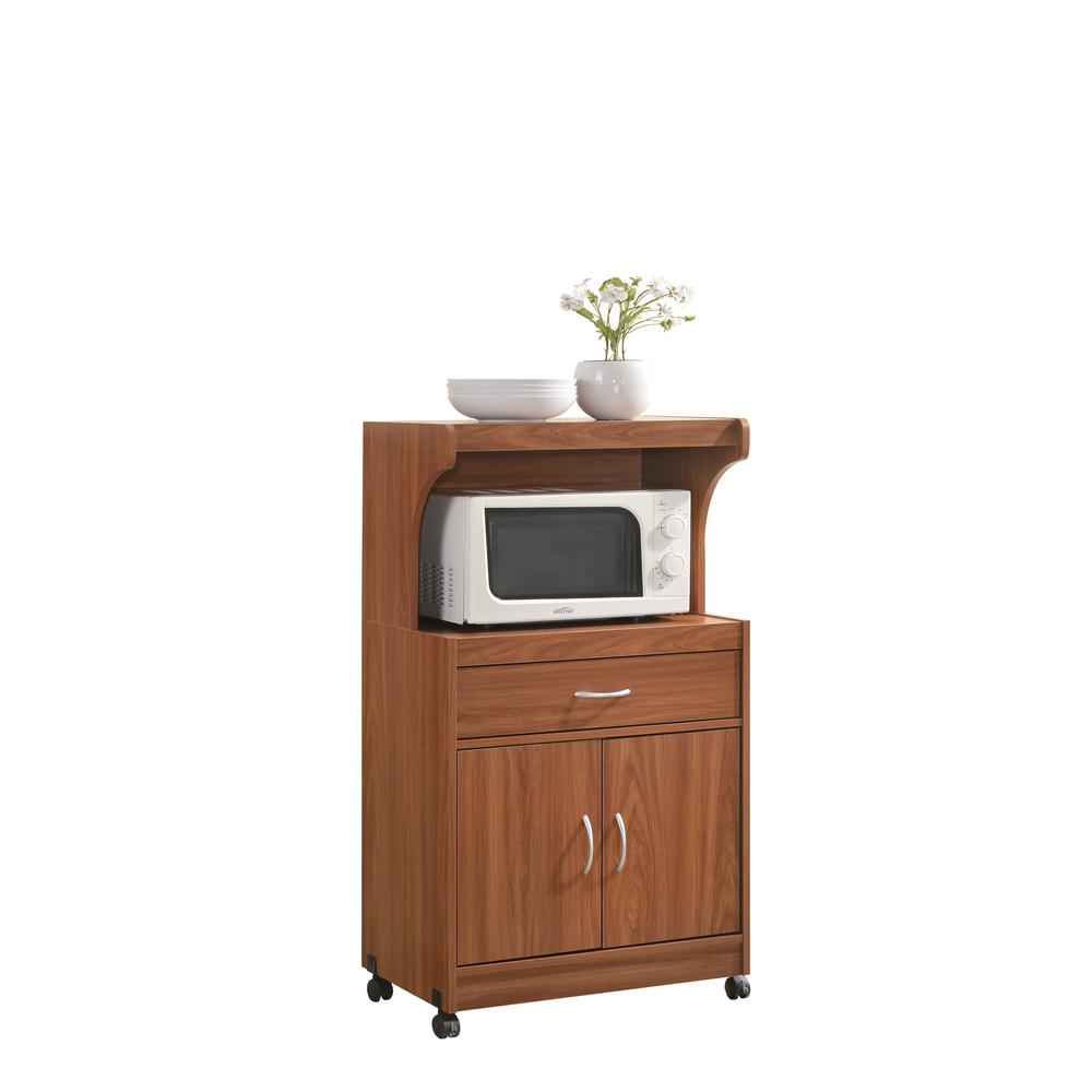 kitchen cart with drawers island sink and dishwasher hodedah 1 drawer cherry microwave hik72 the home depot