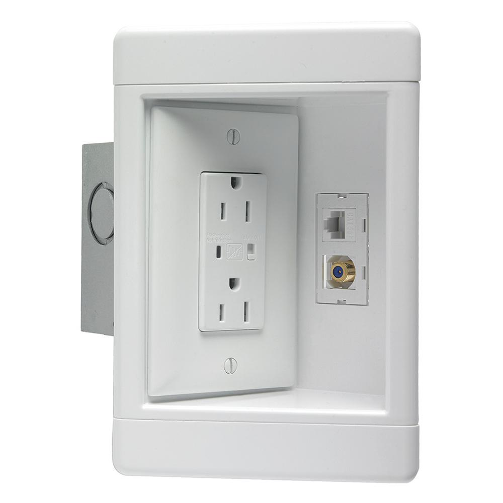 medium resolution of 1 gang recessed tv media box kit with surge suppressing outlet low voltage brush insert and metal electrical box white tv1wmtvsswcc2 the home depot