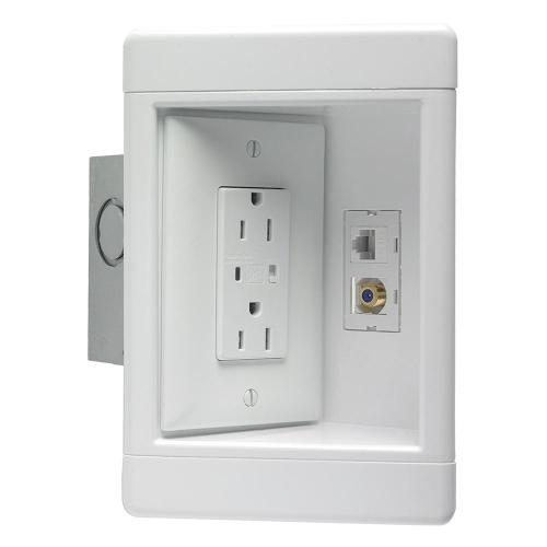 small resolution of 1 gang recessed tv media box kit with surge suppressing outlet low voltage brush insert and metal electrical box white tv1wmtvsswcc2 the home depot