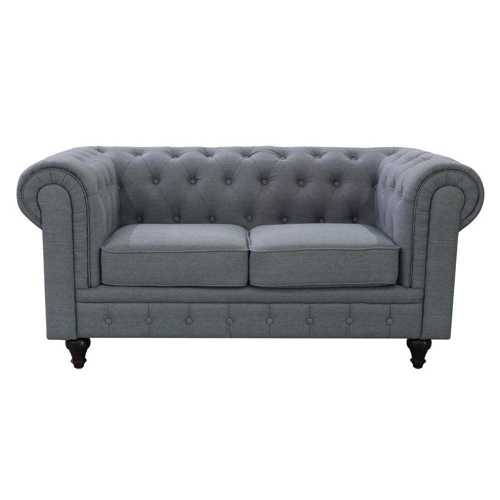 tufted button sofa bernhardt furniture grace chesterfield linen fabric upholstered loveseat grey s5070 l the home depot