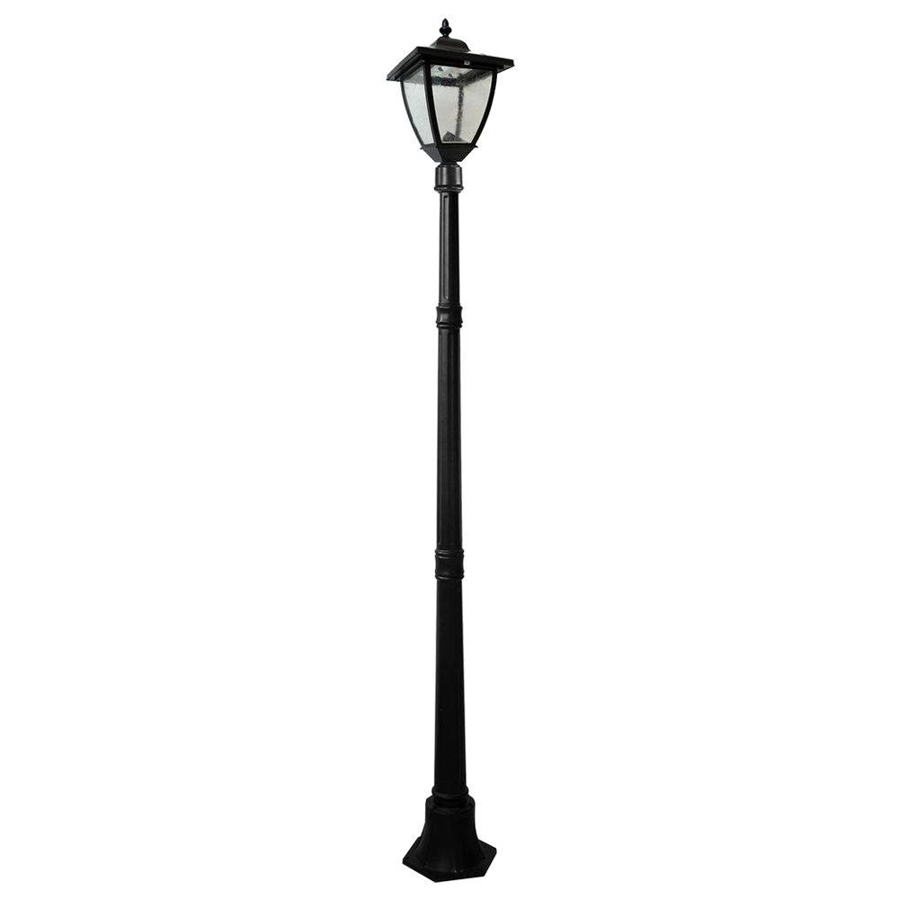 medium resolution of outdoor black solar lamp post with super bright natural white led