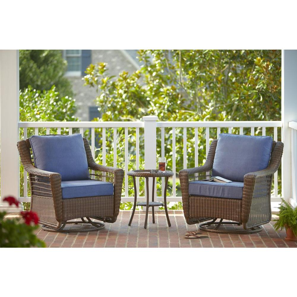 spring haven brown all weather wicker patio sofa hot pink hampton bay 3 piece outdoor chat set with sky blue cushions
