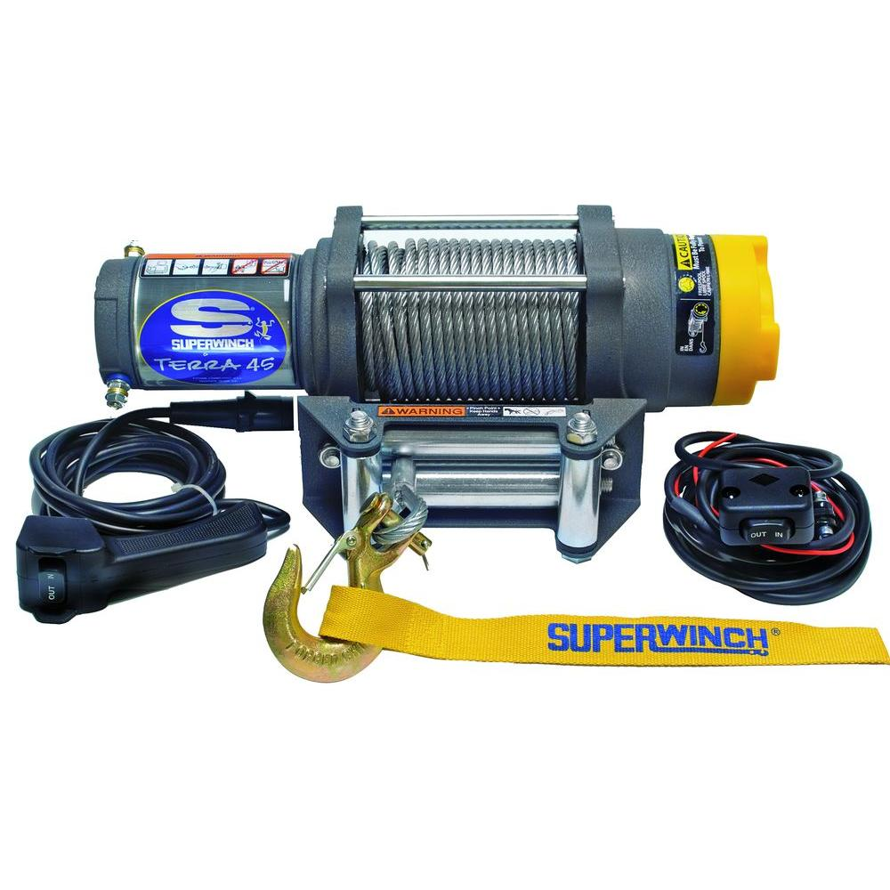 hight resolution of superwinch terra series 45 12 volt atv winch with 4 way roller fairlead and