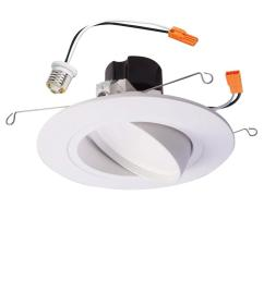 white integrated led recessed ceiling light fixture adjustable gimbal trim 90 cri 3000k soft white [ 1000 x 1000 Pixel ]