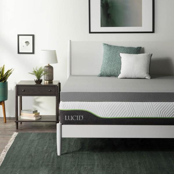 Lucid 4 In. Twin Xl Bamboo Charcoal Memory Foam Mattress Topper-hdlu40tx30bt - Home Depot