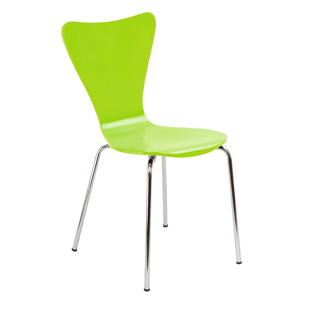 Legare Bent Plywood Lime Green Stack Chair with Chrome