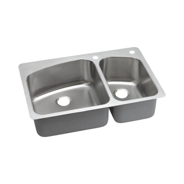 Elkay Dayton Dual Mount Stainless Steel 33 In. L X 22 Double Bowl Kitchen Sink In Premium