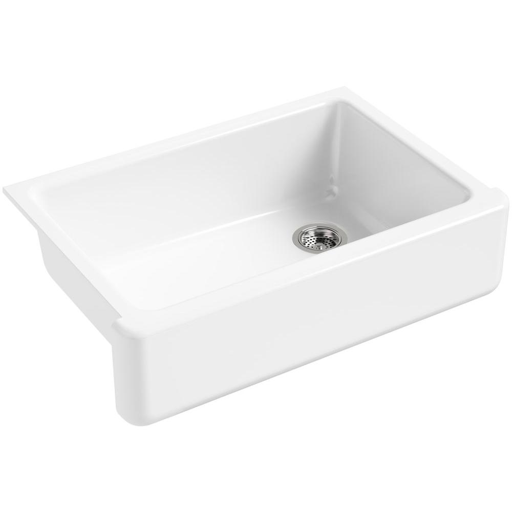 kitchen sink white complete cabinet set farmhouse apron sinks the home depot whitehaven front cast iron 33 in single bowl