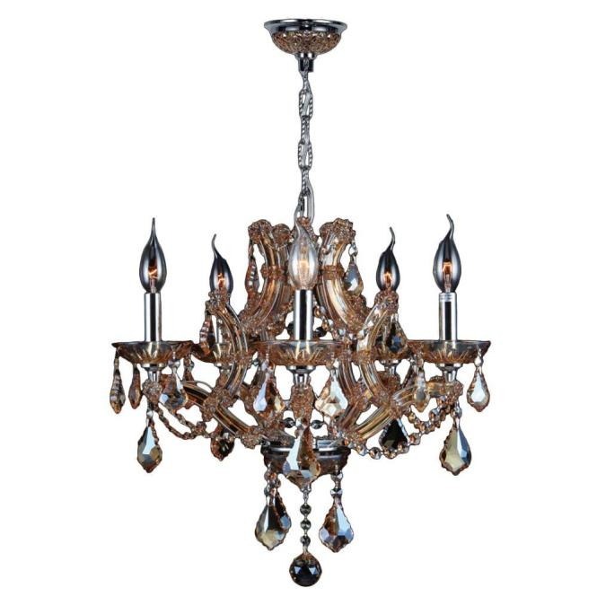 Worldwide Lighting Lyre Collection 5 Light Polished Chrome With Amber Crystal Chandelier W83116c19 Am The Home Depot