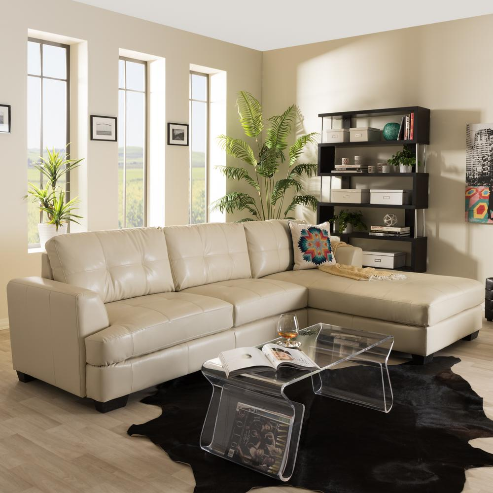 Baxton Studio Dobson Contemporary Cream Bonded Leather Upholstered Sectional Sofa288624310HD