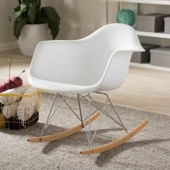 Cheap Modern Rocking Chair Childrens Sleeper Chairs Baxton Studio Dario Mid Century White Plastic Finished