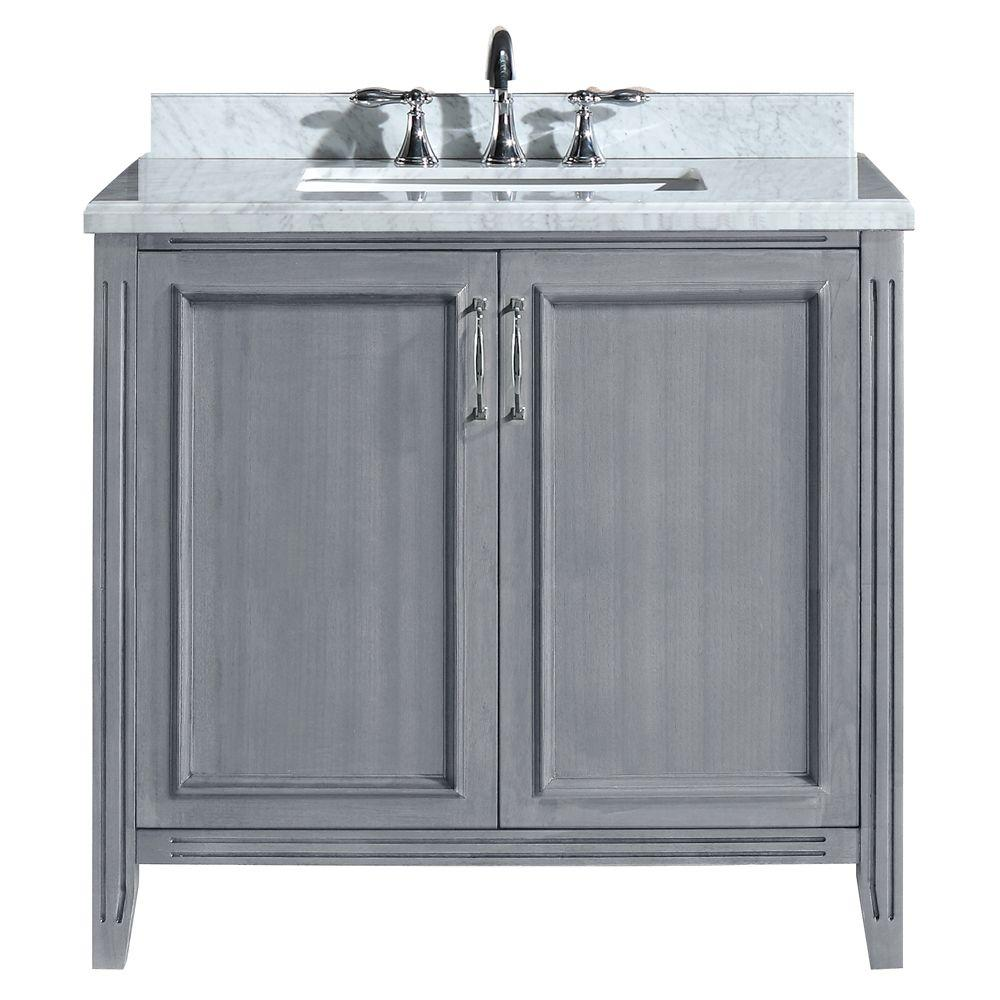 Pegasus Madison 36 In Vanity In Gray With Marble Vanity Top In Carrara White Pemadison36 The Home Depot