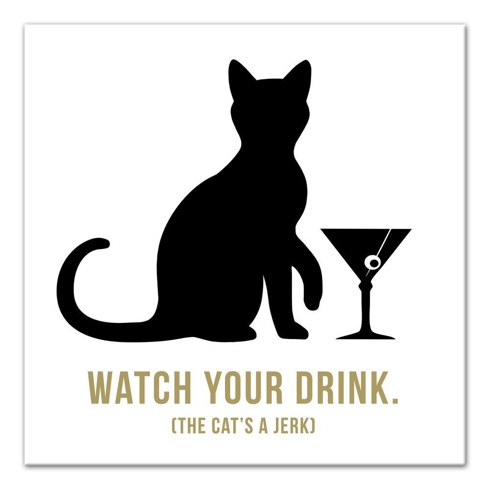 DESIGNS DIRECT 16 in. x 16 in. ''Jerk Cat Martini