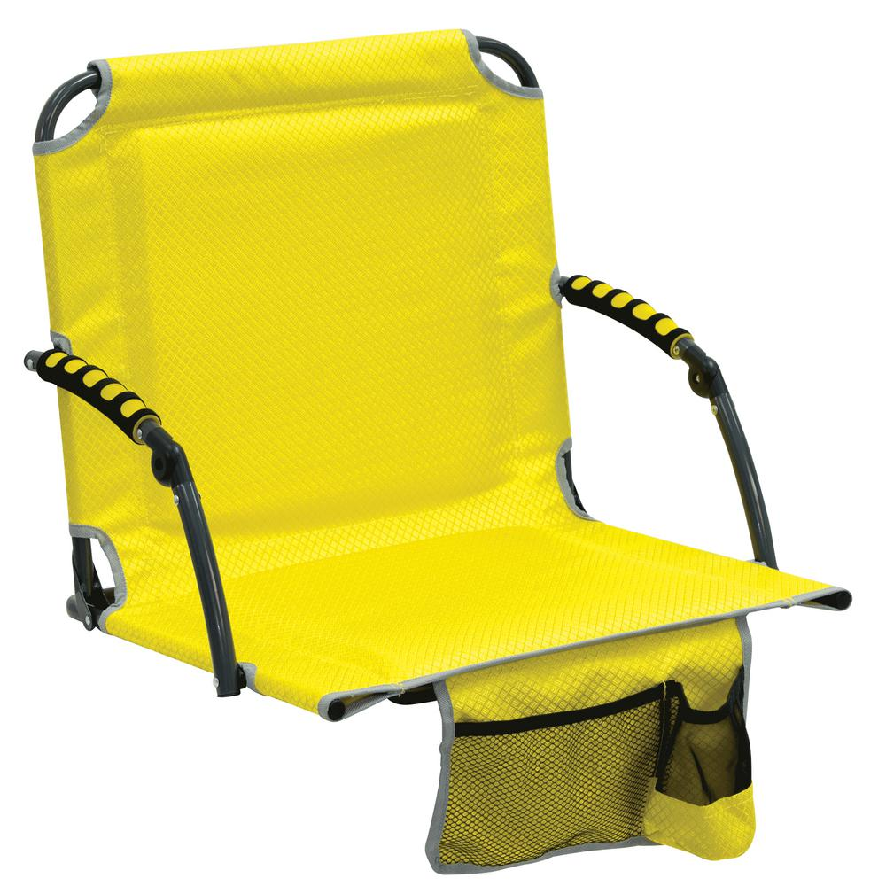 stadium chairs for bleachers with arms big flower chair sash rio bleacher boss pal yellow folding seat padded armrests