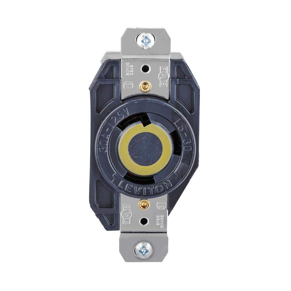 hight resolution of leviton 30 amp 125 volt 3 wire locking single outlet black